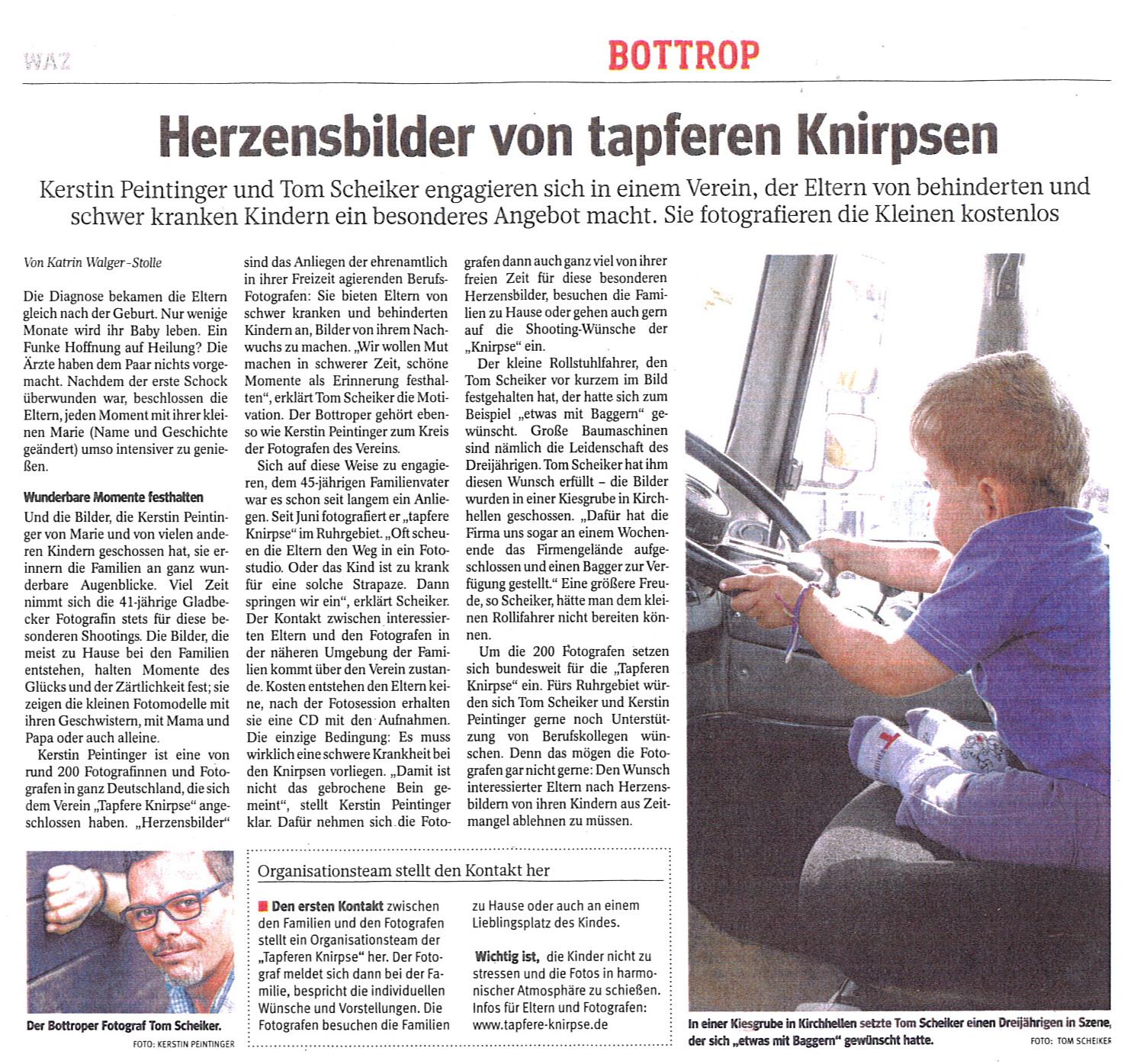 Artikel in der WAZ vom 09. Januar 2014 im Bottroper Lokalteil